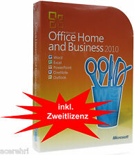 MS OFFICE 2010 Home & Business Vollversion+Zweitnutzungsrecht+DVD 32+64bit IT/DE