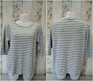SHORT SLEEVE ROUND NECK STRIPPED TOP SIZE UK 20 / EU 48 - 1EE