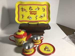Curious George Child's Tin Tea Set, Tea Party, Birthday Tea Set Universal Studio