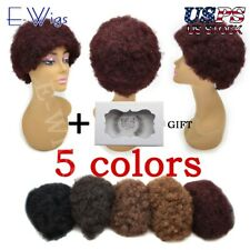 African Lady Afro Short Curly Wigs For Black Women Full Curly 100% Human Hair