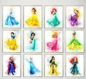 Disney Princess Prints Girls Room Nursery Beautiful Watercolour Pictures