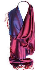 Two Sided Silk Feel Reversible Elegant Wrap Scarf Stole Shawl Hijab Head Scarves