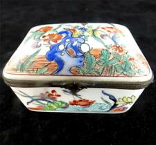 VINTAGE HAND PAINTED FRENCH PORCELAIN CASKET BOX IN THE KAKIEMON STYLE