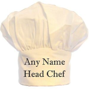 PERSONALISED HEAD CHEF CHEFS HAT BBQ POLYESTER GIFT BIRTHDAY CHRISTMAS