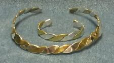Vintage Mexico 925 Silver and Brass Braided Collar Necklace and Bracelet Set