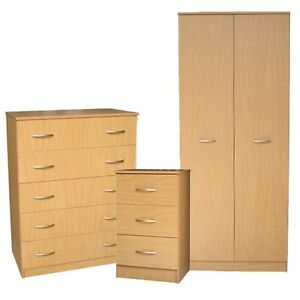 Ready Assembled Milano Beech 3 Piece Wardrobe Drawers Bedroom Furniture Set