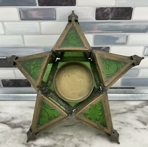 """Vintage Stained Glass GREEN STAR Tealight Votive Candle Holder 5.75"""""""