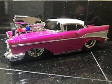 Muscle Machines 1957 Chevy Belair 1:18 Custom Pink White Lowered Blower Drag