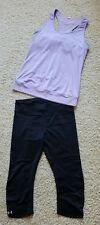 Lot of 2 Women's Under Armour Athletic Running Tennis Yoga Shirt/Pants SZ M EUC