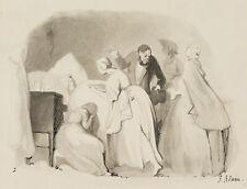 J.ADAM(*1821), Trauernde am Sterbebett, 19.Jhd., Monochromes Aquarell