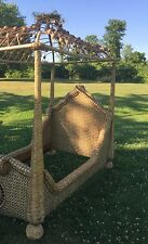 Incredible MacKenzie Childs Twin Rattan Wicker Canopy Bed Tree Poster - Delivery