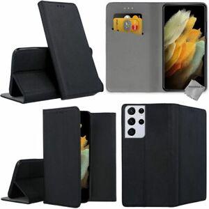 Housse etui coque portefeuille pour Samsung Galaxy S21 Ultra 5G + verre trempe