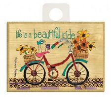 Life is a beautiful ride Bicycle Flowers Cute Wood Fridge Magnet 2.5x3.5 New A86