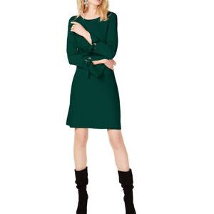 INC NEW Women's Black Grommet Bell-sleeve Sweater Dress L TEDO
