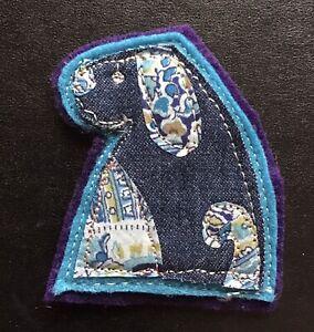 Brooch Blue Denim Dog Appliqué Fabric Machine Embroidered Handmade