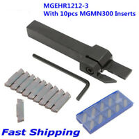 10 IN 1 MGMN300 Insert & MGEHR1212-3 Lathe Cut-Off Grooving Parting Tool Holder