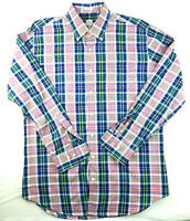 Peter Millar Button Down Pink Blue Green Plaid Chambray Shirt L Large 100% Cotto