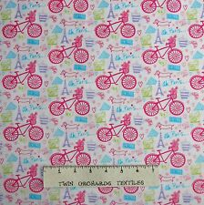 French Fabric - Bicycle Eiffel Tower Pink Purple White Timeless Treasures YARD