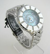 NEW A II Z by TIMEX BLUE MOP DIAL & CRYSTALS+SILVER BAND WOMENS WATCH-V0V695