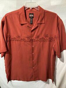 Harley Davidson Mens Red Rust Button Up Casual Shirt Short Sleeve Size Sz XL EUC