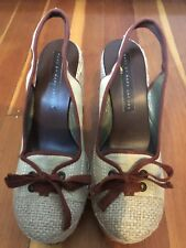 marc by marc jacobs slip on wedge heels shoes 39 9 tan red leather canvas SPAIN