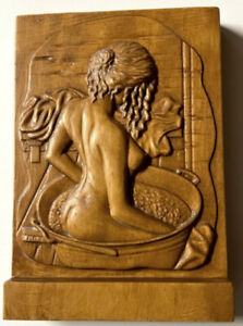 """Wood Carving Bath Nude 7"""".75 x 5.5"""" x 1.25""""  Free Standing - Wall Bas-Relief BH1"""