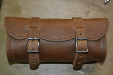 "Handmade 9"" Crazy Horse Brown Leather Motorcycle Tool Bag"