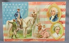 Old Patriotic 4th of July Postcard - Tuck Washingtons Birthday Family Mt Vernon