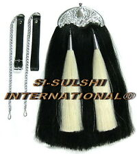 SI-BLACK HORSE HAIR MILITARY LONG SPORRAN ( 100% Original ) with THISTLE CANTLE