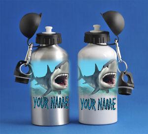 Shark Kids Boys Water Sports Bottle Silver Or White School PE Gym Great Gift