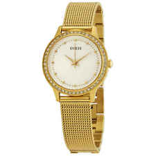 Guess Chelsea Crystal White Dial Yellow Gold PVD Ladies Watch W0647L7