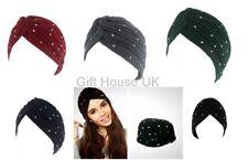 Turban Gold Silver Studded Stretchy Turban Ladies Chemo Pleated Cloche Head Wrap