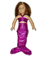 "Hot Pink Fish Scales Mermaid Outfit Fits American girl dolls 18"" Doll Clothes"