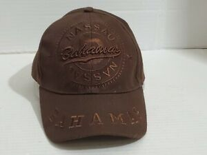 Bahama Nassau Ball Cap Hat Adult Adjustable Head Cover Sun Visor Brown Pre-Owned
