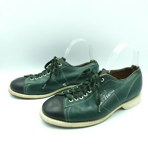 Linds USA Mens Size 8 Black Green Leather Lace Up Ten-Pin Bowling Shoes
