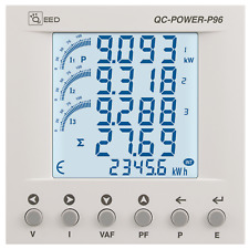 Energy meter trifase  QC-POWER-P96 con display da pannello 96x96 mm - RS485 P 96