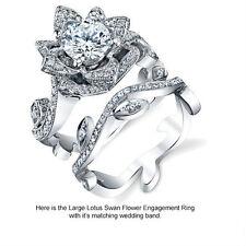 Lotus Flower Women 925 Silver Natural 1.3CT White Topaz Ring Set Wedding Size 7