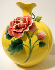 "EXQUISITE LARGE ""COTTON ROSE"" PORCELAIN VASE BY FRANZ - NIB"