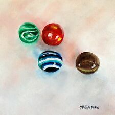 Original Oil On Canvas By Artist- Glass Marbles 4 In Sunlight - 8x8 - $95