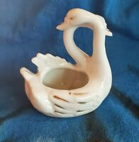 "Vintage Porcelain Double Swan Miniature Planter White 4"" High Made Japan"