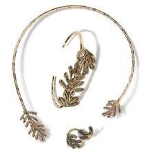 Banana Republic Hammered Leaf Bangle Cuff Bracelet RING NECKLACE SET of 3 NWT