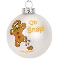 Tree Buddees Oh Snap! Funny Gingerbread Man Glass Christmas Ornament Fun Xmas