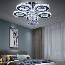 Crystal LED Ceiling Light Flush Mount 5 Rings Modern Chandelier Lighting