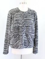Karl Lagerfeld Static Boucle Tweed Textured Sweater Blazer Jacket Size XL Gray