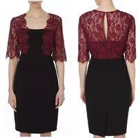 BEAUTIFUL LK BENNETT BLACK AND ROSE LACE DETAIL DRESS UK SIZE 12 RRP £350