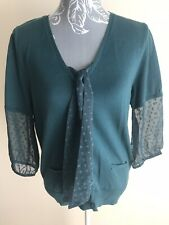 Papaya Womens Jumper Size 16 Teal Cotton Blend Tie Front V Neck 3/4 Sleeved