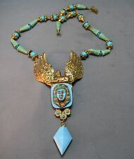 SENSATIONAL Egyptian Revival Scarab Winged Pharoah Pendant Intricate Necklace!