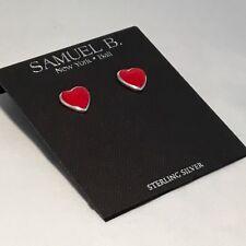 SAMUEL B JEWELRY STERLING SILVER CORAL HEART STUD EARRINGS $ 95