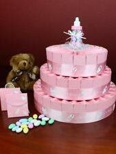 66 Favour Boxes Baby Girl Shower 3 Tier Favour Cake PINK Bombonierre Boxes