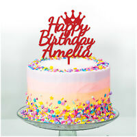 Custom Happy Birthday Cake Topper Kids Princess Crown PERSONALISED Cake Topper